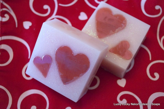 Two Glycerin Soaps Red Hearts and Pink Valentine's Day Soaps Homemade Soap