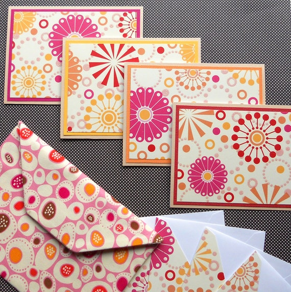 Blank Notecard Set: 4 Handmade Cards with Matching Embellished Envelopes, Packaged in a Fabric Envelope - Sherbet Pop