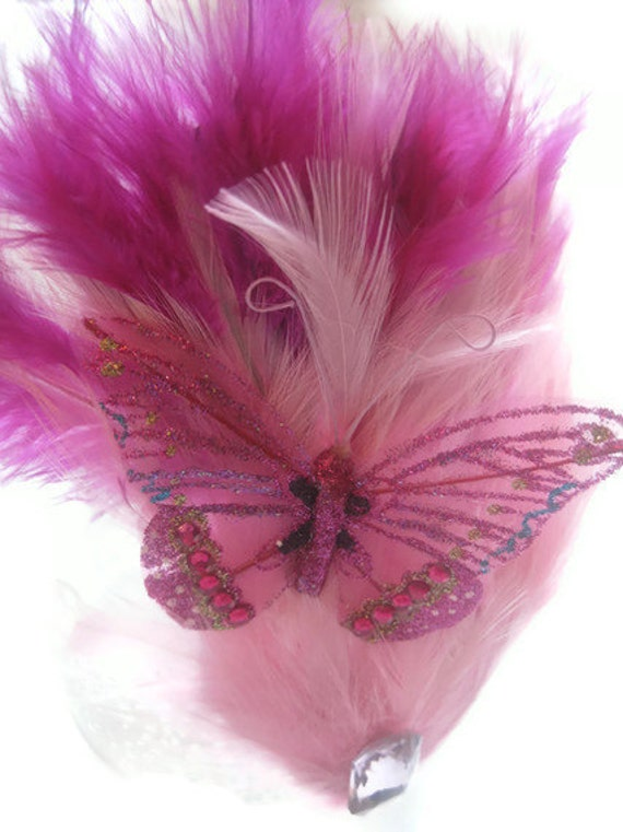 Pink fascinator hair comb glitter rhinestone butterfly