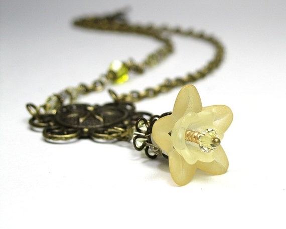 Buttercup, Yellow, Vintage Style, Flower Necklace, Swarovski, Lucite, Antiqued Brass