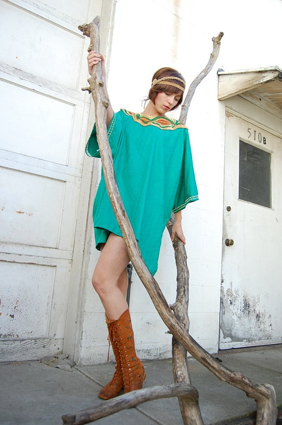 Vintage 60s Kelly Green Egyptian Pharaoh Hippie Caftan Mini Dress