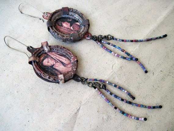 The Plague. Rustic Victorian Portrait Asymmetrical Assemblage Earrings.