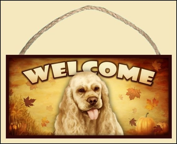 "Cocker Spaniel (Tan) Fall / Autumn Season 10"" x 5"" Wooden Welcome Sign"