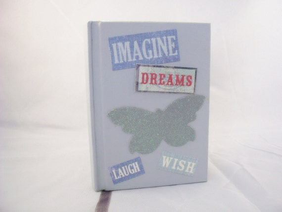 Notebook Blue Gray Butterfly Journal Lined Imagine Dream Wish Laugh