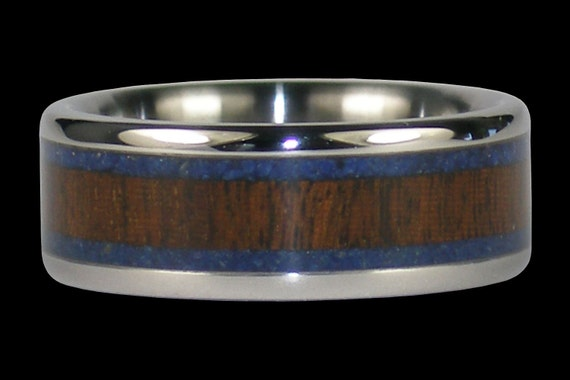 Blue Lapis Titanium Ring with Ipe Wood by Hawaii Titanium Rings