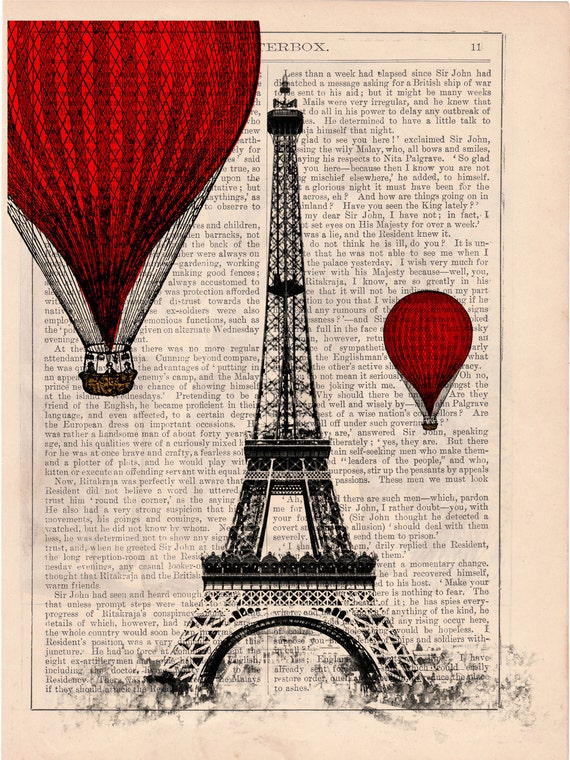 Vintage Book Print -  Eiffel Tower Balloon Ride Print on Vintage Book art