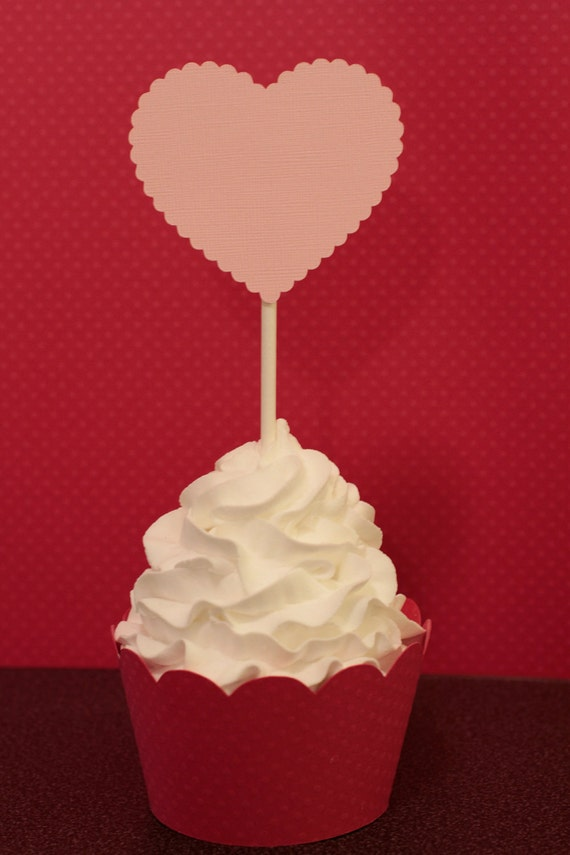 Pink Scalloped Heart Valentines Day Cupcake Toppers