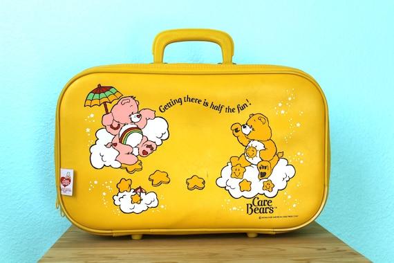 vintage 1983 Care Bears bright yellow child's vinyl suitcase
