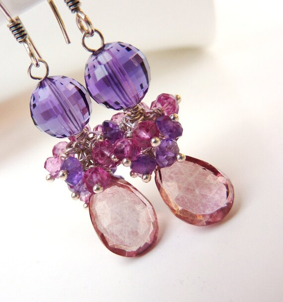 Ready to Ship. February Birthday. Purple Amethyst, Pink Topaz ,Amethyst Rondelle Cluster,Mystic Pink Quartz. . ONLY ONE.