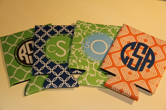 Personalized Monogrammed Koozie - Many Colors and Designs Available