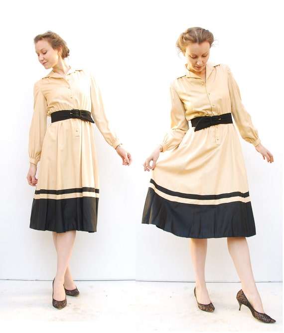 70s Secretary Dress - Silk Dress - Office Fashion - Champagne Dress - British Crown Colony Dress - 4 6 S