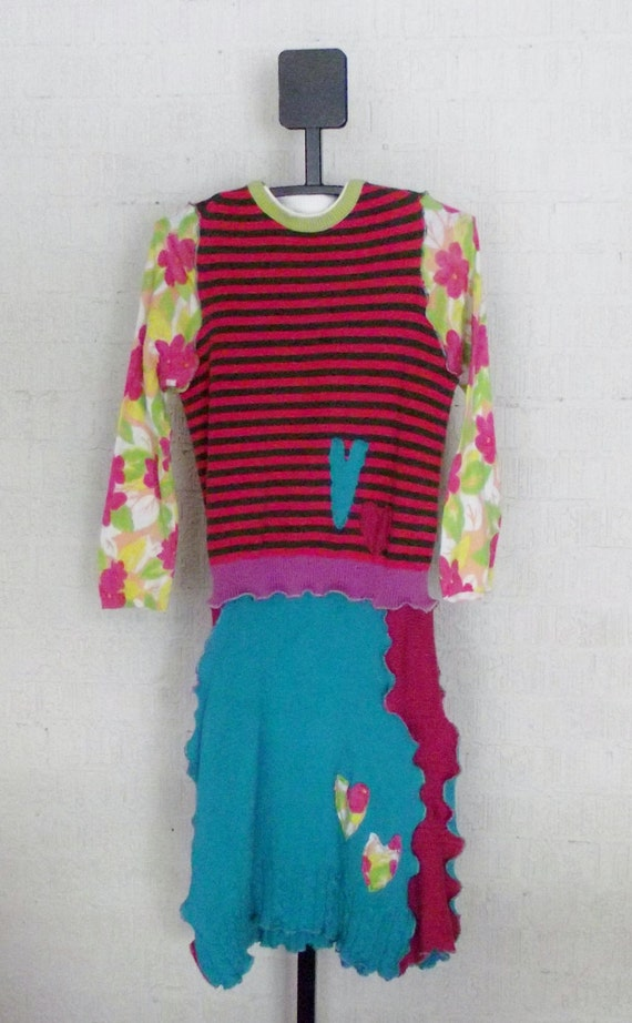 Girls Recycled Sweater Dress.  This is a One Of A Kind (OOAK) in fun and bright colors, size 16 in Childrens