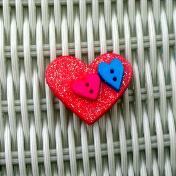 Heart Magnet Valentines Day Red, Pink, Teal