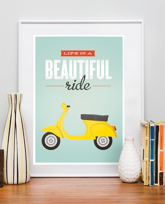 Retro Happy Art. Quotes print.  Typography poster.  VIntage 60s Bike poster.  Life is a Beautiful Ride. A3