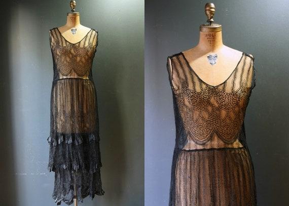 1920s dress 1920s flapper dress black lace