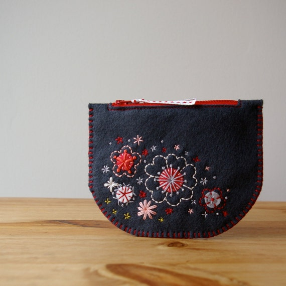 Sakura: Made To Order Hand Embroidered Wool Felt Coin Purse by LoftFullOfGoodies