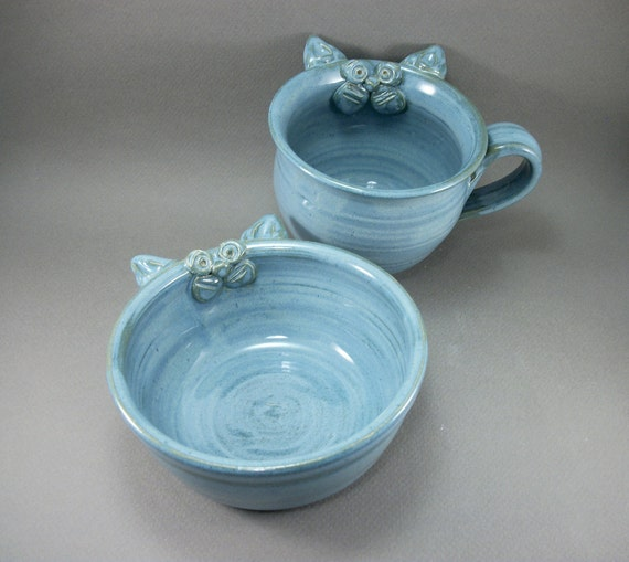 cat cup and bowl set