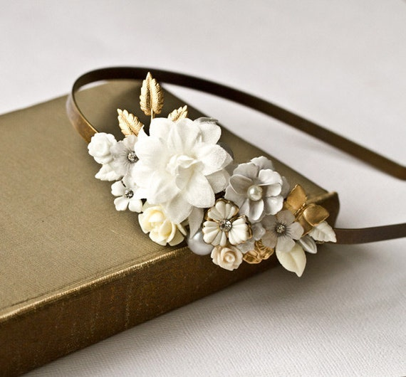 Bridal Headband - White Flowers Headband, Bridal Hair Piece, Shabby Chic Wedding, Vintage Headband, Wedding Headband, Bride Hair