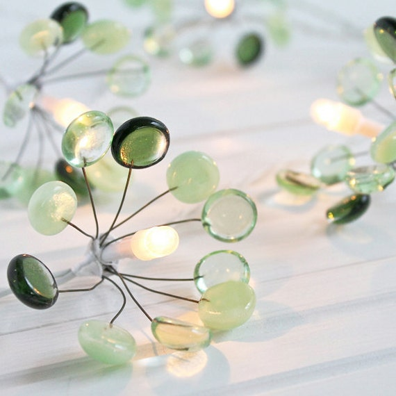 Glass Fairy Lights - green glass, small