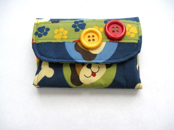 Boy Crayon Wallet-Doggie Print - Yellow Red Button - Paw Print - Notepad and Crayons - Coloring Art Kit - Child Gift