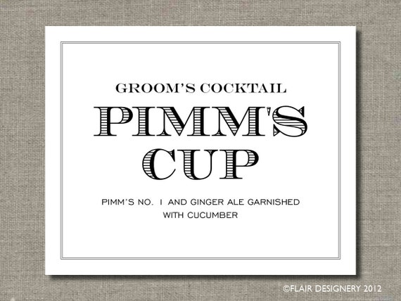 Groom 39s Cocktail Printable Wedding Poster Bar Sign Table Sign or Guest