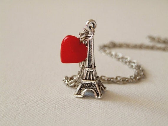 I Love Paris - Eiffel Tower charm and red heart on antique silver chain - whimsical, funky