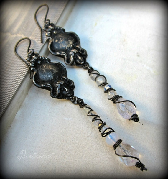 Wayward wife .  dangle earrings boho assemblage neo art nouveau