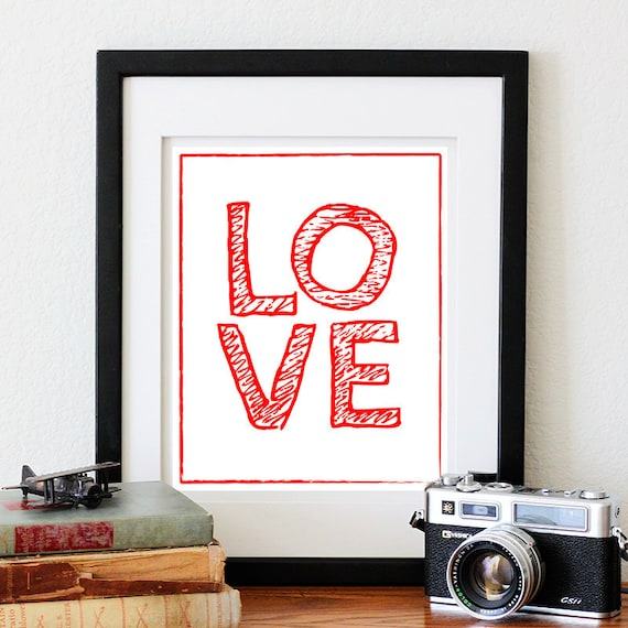 LOVE digital print, Valentine's 8X10 DIY printable-choose your own color