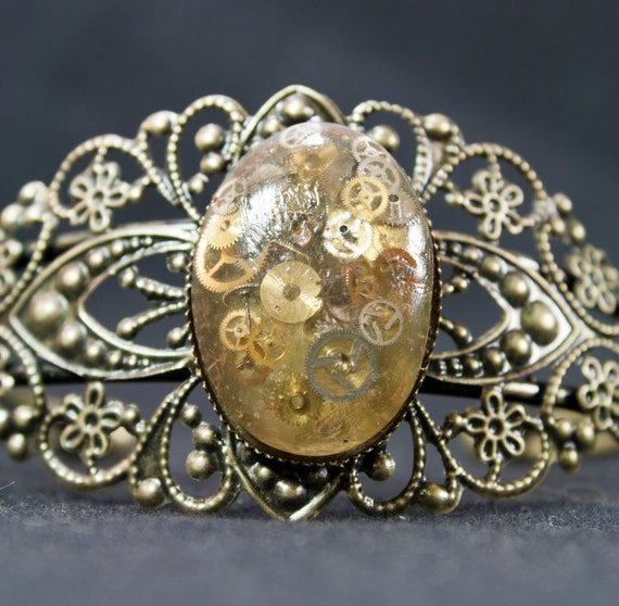 Antique Bronze Filigree Steampunk Clockwork Bracelet