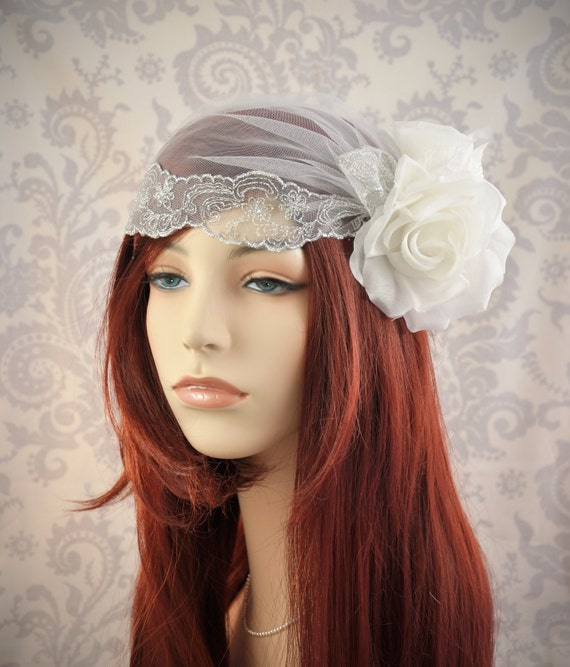 Lace Cap Bridal Cap Veil with Flowers Silver and White Wedding Veil