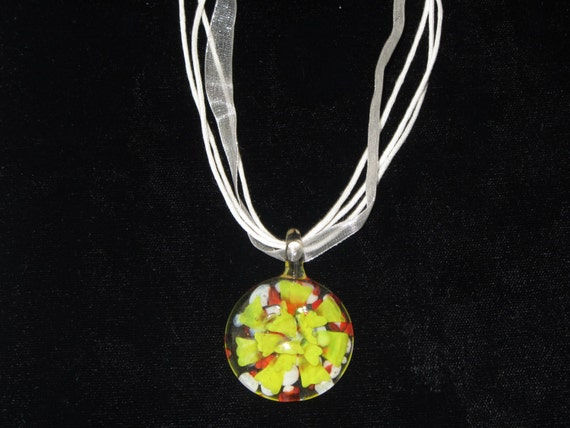 NEW ITEM for SPRING - Yellow, Orange, and White Glass Flower Pendant Necklace on White Satin Ribbon and Cord