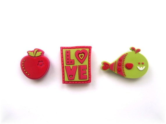 Magnet Set Of 3,  Fish, Love, Apple