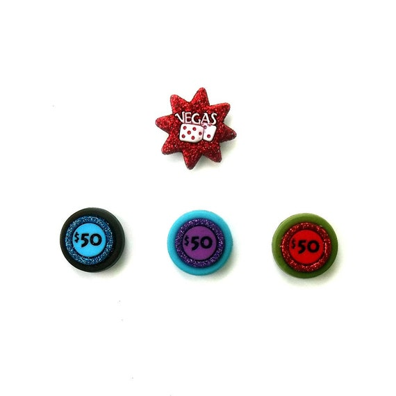 Magnet Set of Four, Vegas, Money, Gambling, Slots