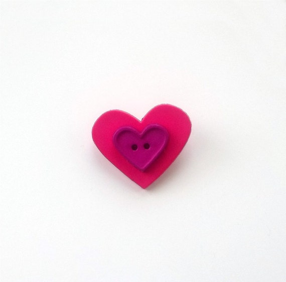Heart Button Pin/Brooch Pink, Purple