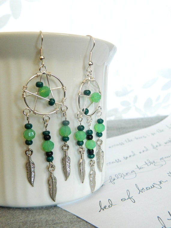 Signature Green and Mint Dreamcatcher Earrings