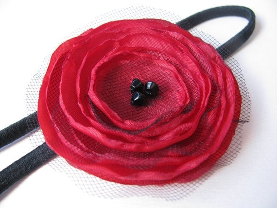 Fabric Poppy Headband - Red with black net, with glass beads