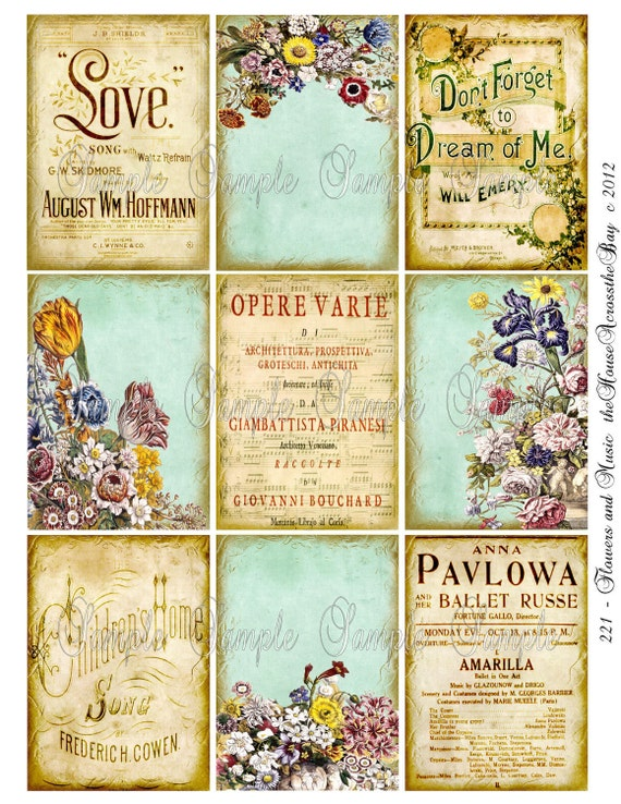 Flowers and Music ACT Digital Collage ACEO Digital Backgrounds 2.5 x 3.5 Opera Bouquet Sheet Music Ballet Digital Tag Card Texture 221