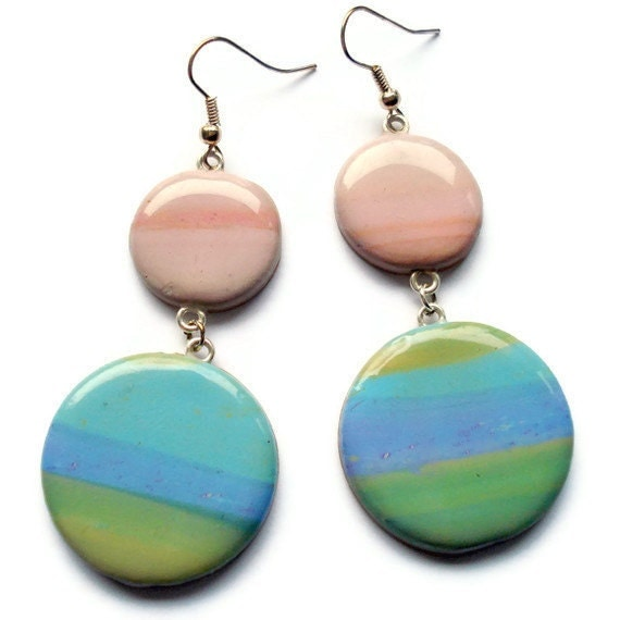 Polymer clay earrings  Blue pink and green by KireinaJewellery |  Craft Juice