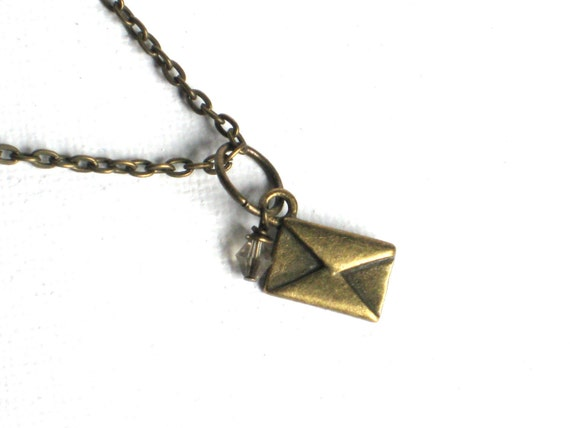 Tiny Antique Brass Envelope Necklace