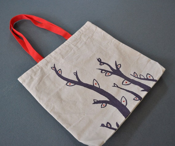 Valentine Vines: Purple Vines with Red Hearts Printed on Natural Tote Bag - Valentine's Day