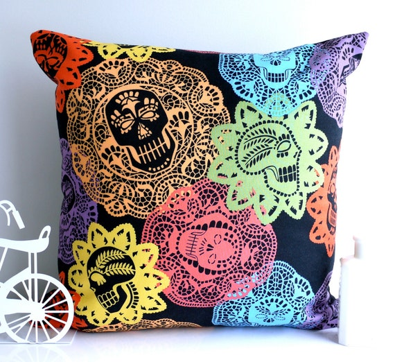 Skull cushion skull pillow colorful throw pillow retro pillow Alexander Henry papel bonito day of the dead purple pillow doily black cushion