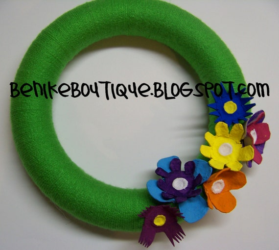 Spring Yarn Wreath with Egg Carton Flowers