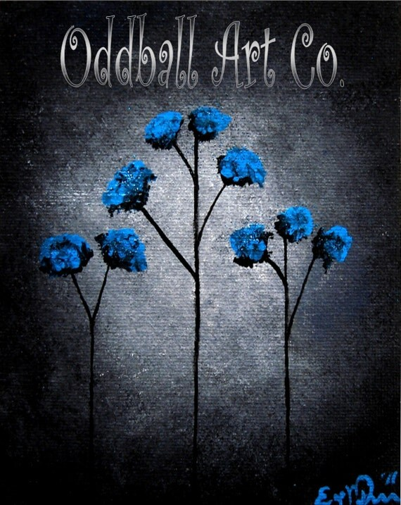 8 x 10 Blue Beauties Flowers Moonlight Twilight Fantasy Dark Art Archival Reproduction Print EAWT