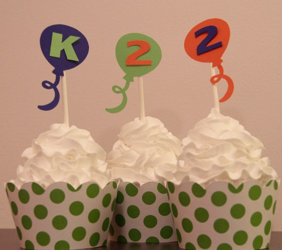 Personalized Balloon Cupcake Toppers - Blue, Green and Orange