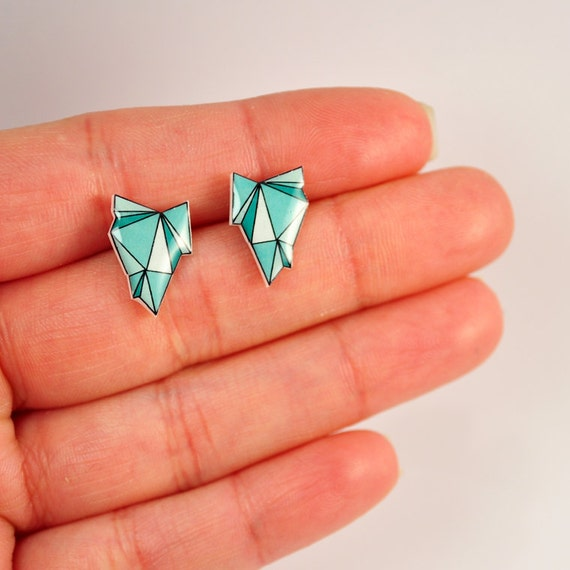 Emerald Green Geode Post Earrings - Hypoallergenic Surgical Stainless Steel Posts