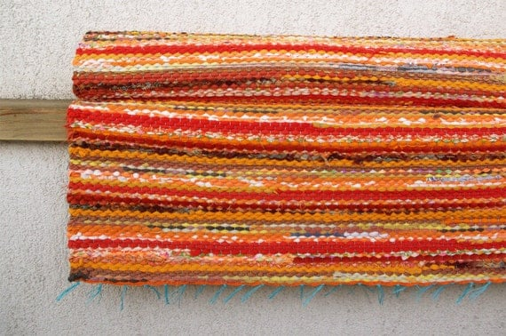 Handwoven Rag Rug - sunny yellow orange 2.43' x 5.77'