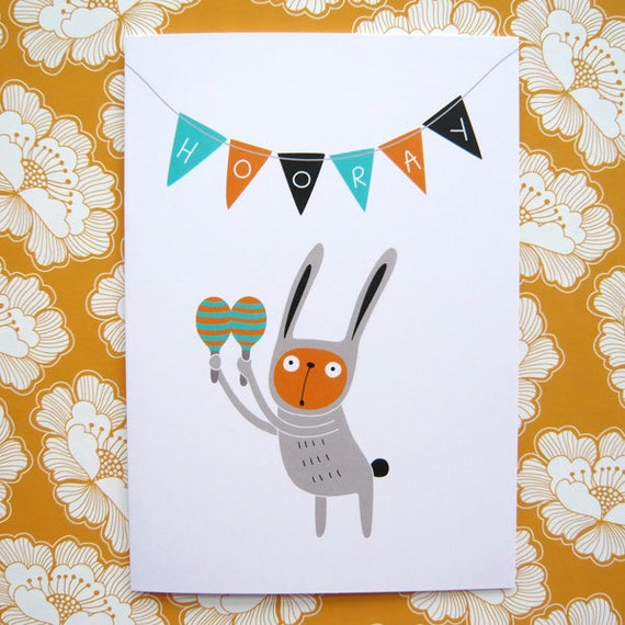 Happy Bunny  - Greetings Card