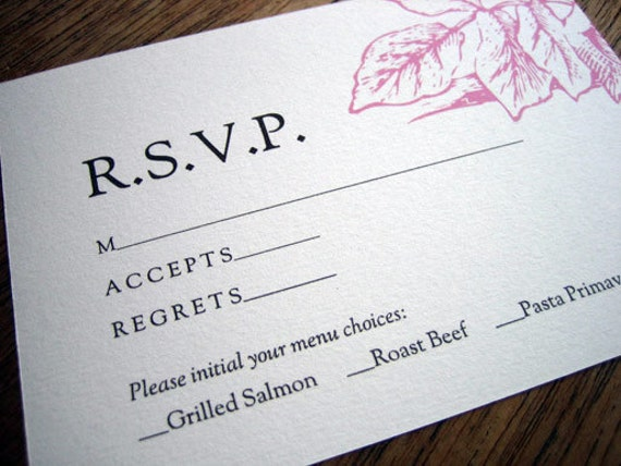 Printable Wedding Response Card Floral