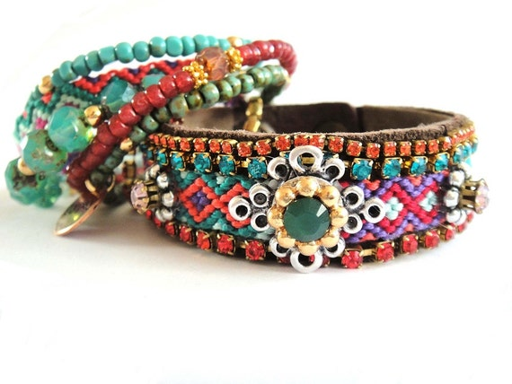 Bohemian hippie friendship bracelet suede cuff - medium width in jewel tones with genuine Swarovski chrystals - gypsy style