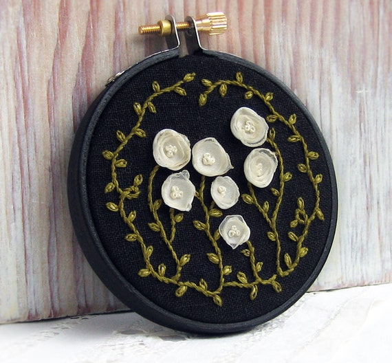 Tattered Garden Fiber Art Hand Embroidered Wall Hanging- White Flowers on Black Linen
